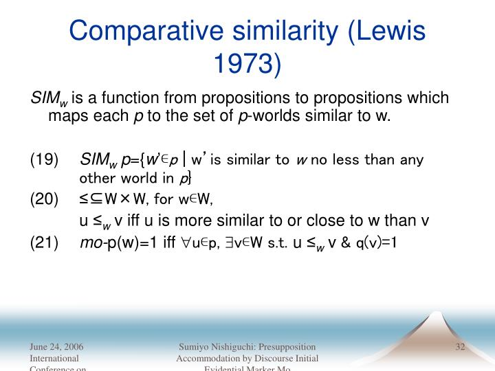 Comparative similarity (Lewis 1973)