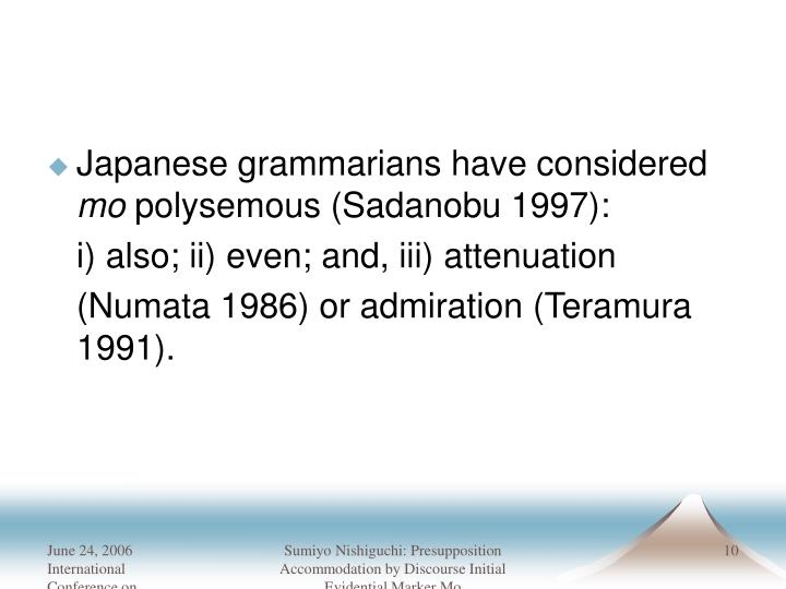 Japanese grammarians have considered