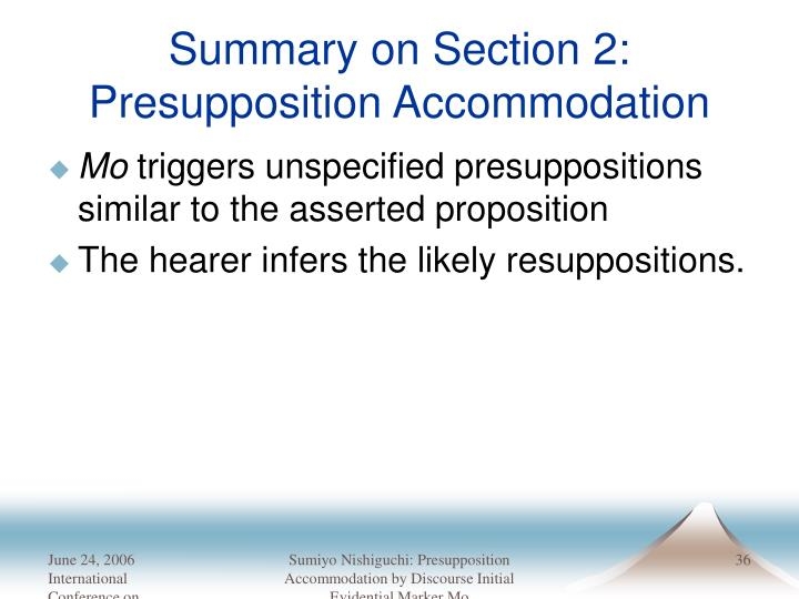 Summary on Section 2: Presupposition Accommodation
