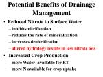 potential benefits of drainage management