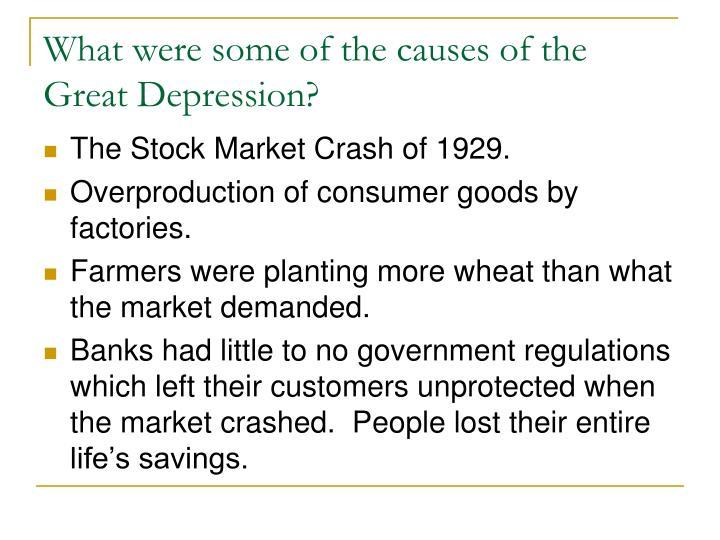 What were some of the causes of the Great Depression?