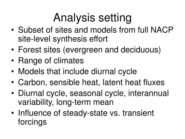 Analysis setting
