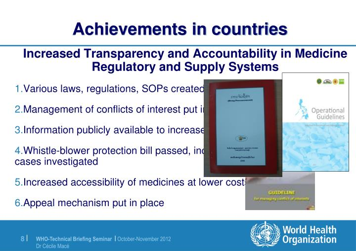 Achievements in countries
