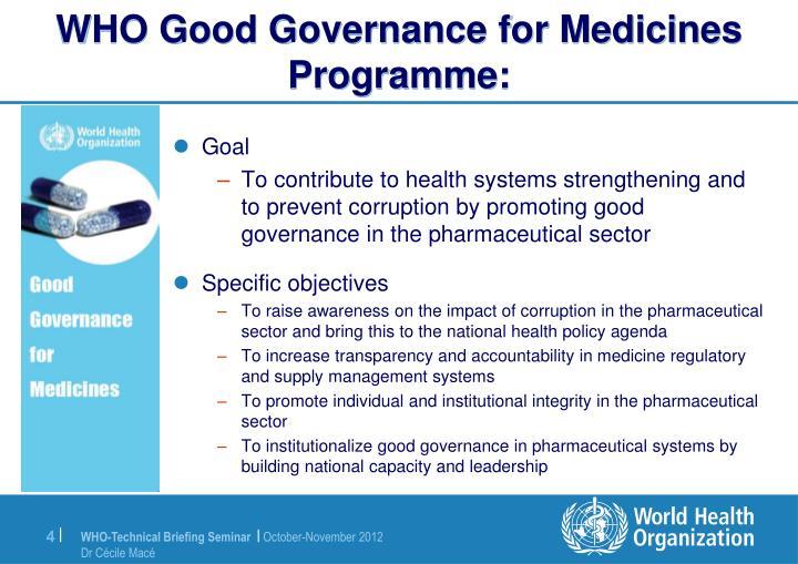 WHO Good Governance for Medicines Programme:
