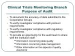 clinical trials monitoring branch purpose of audit
