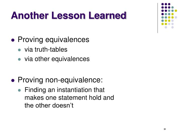 Another Lesson Learned