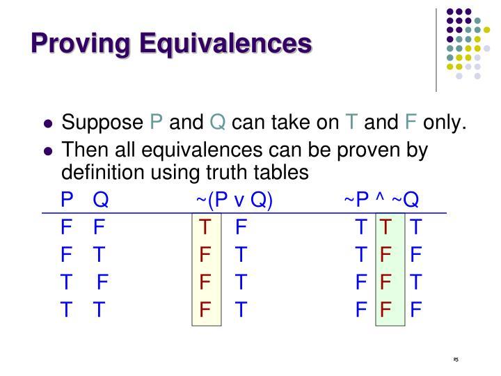 Proving Equivalences
