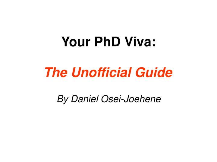 preparing for a dissertation viva Completing your dissertation with flying colors you have spent years working on your dissertation and you are almost home free the last part of this is defending your work in front of a group of your peers.