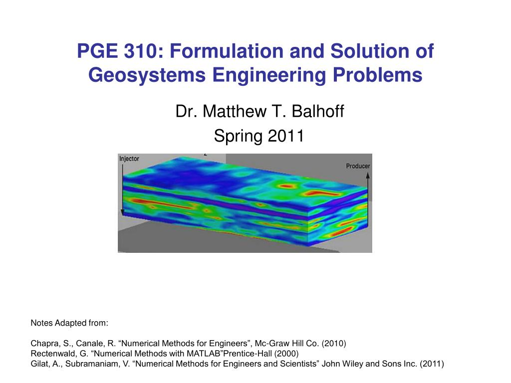 Ppt Pge 310 Formulation And Solution Of Geosystems Engineering
