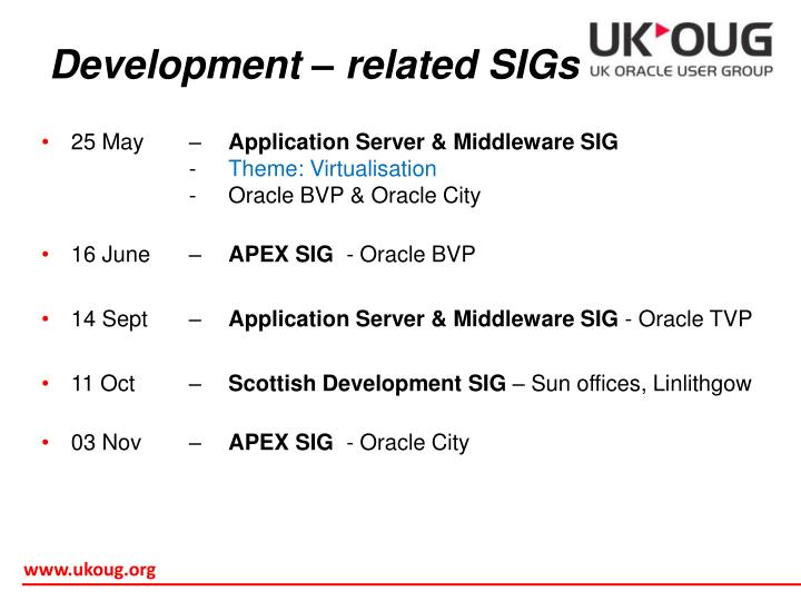 Development – related SIGs