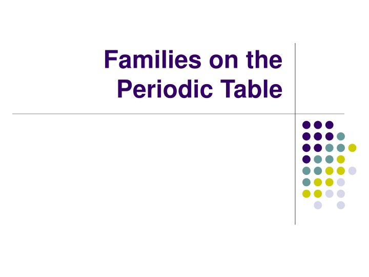families on the periodic table n.
