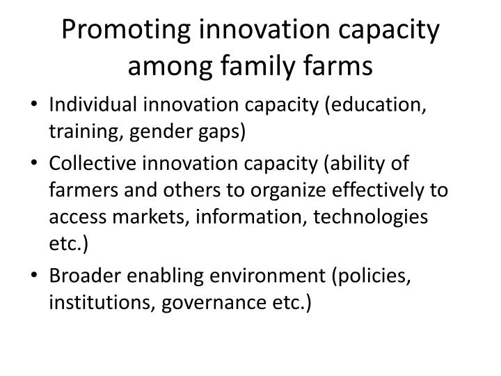 Promoting innovation capacity among family farms