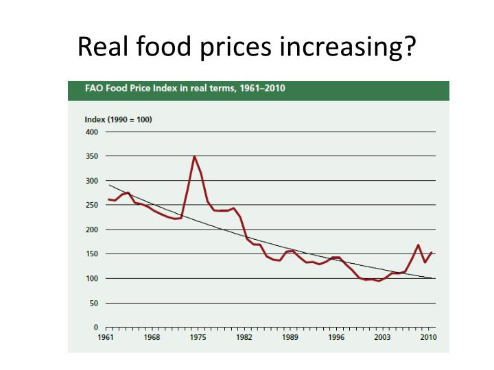 Real food prices increasing?