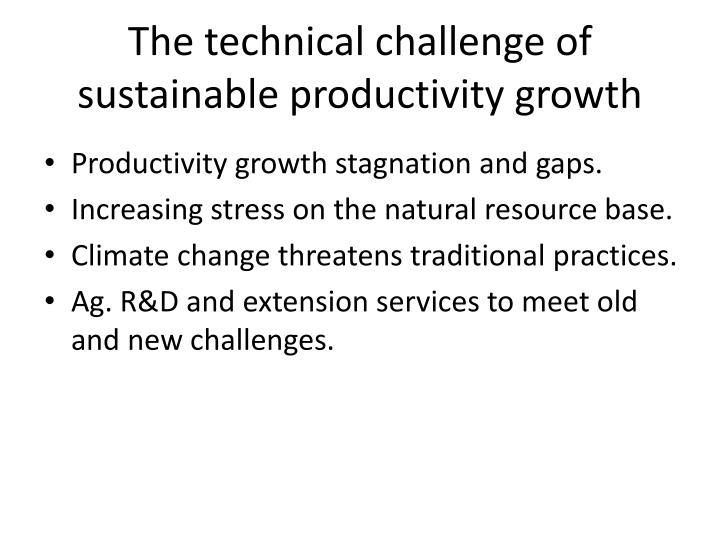 The technical challenge of sustainable productivity growth