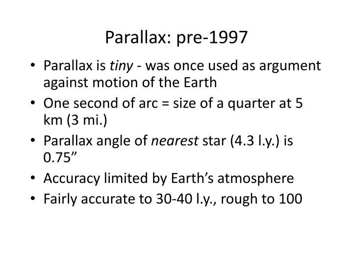Parallax: pre-1997