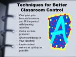 techniques for better classroom control2