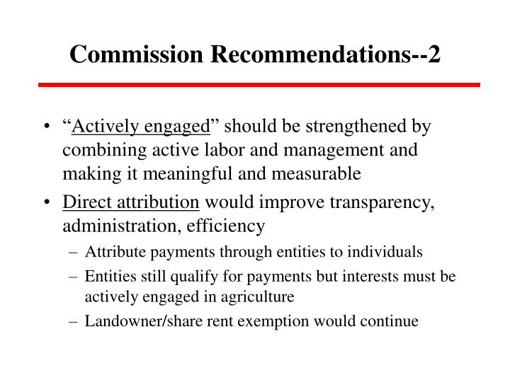 Commission Recommendations--2
