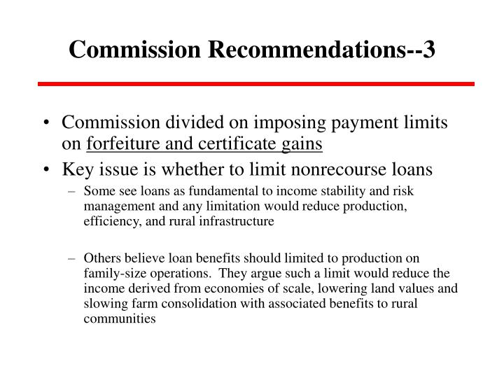 Commission Recommendations--3