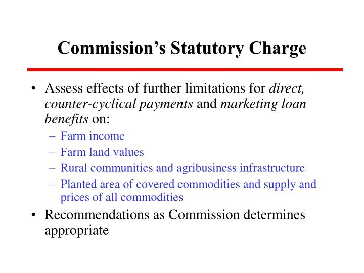 Commission s statutory charge