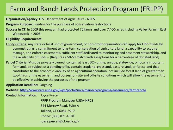 Farm and ranch lands protection program frlpp