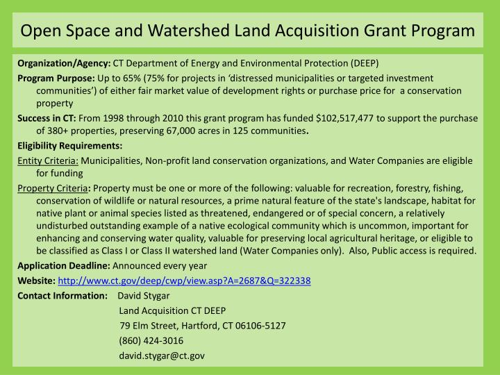 Open Space and Watershed Land Acquisition Grant Program