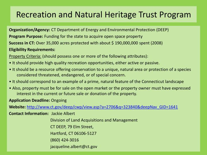 Recreation and Natural Heritage Trust Program