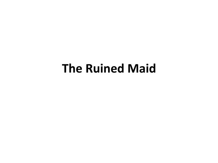 the ruined maid by thomas hardy essay