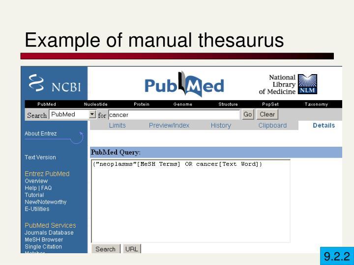 Example of manual thesaurus