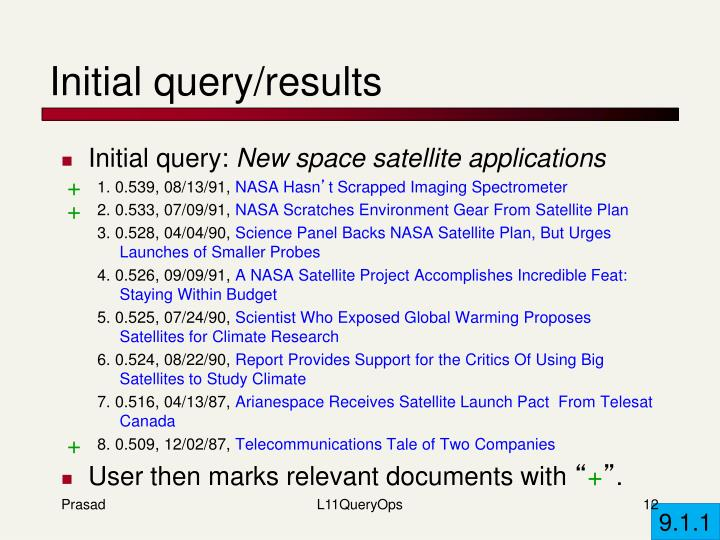 Initial query/results