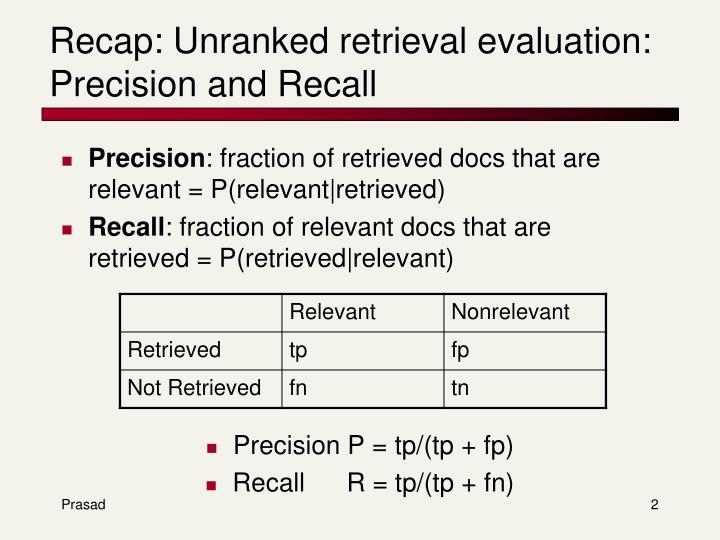 Recap unranked retrieval evaluation precision and recall