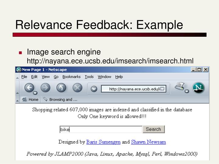 Relevance Feedback: Example
