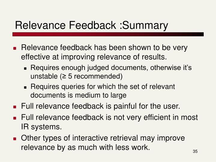 Relevance Feedback :Summary