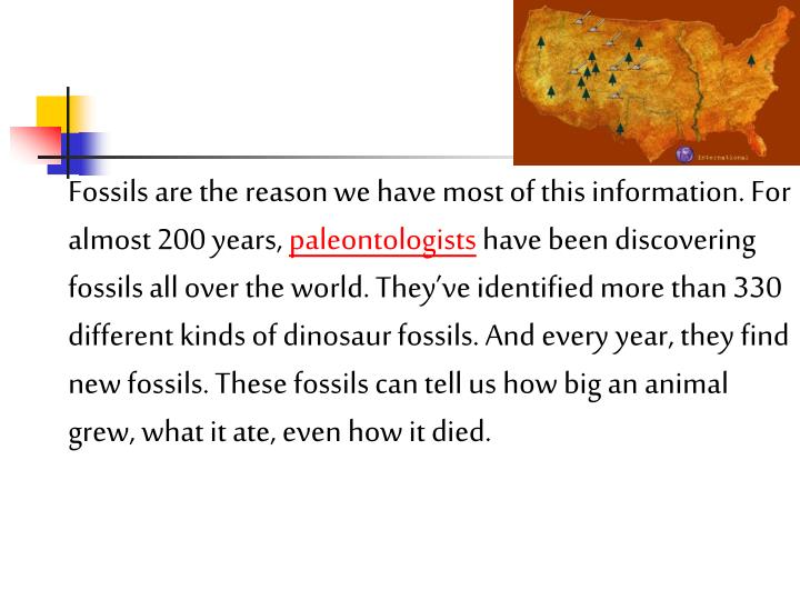 Fossils are the reason we have most of this information. For almost 200 years,