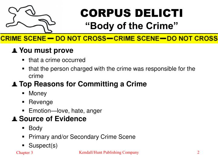 an analysis of the topic of the corpus delicti An essential component of everycriminal case, including criminal homicide, iscorpus delicti corpus delicti is the substance of the crime at issue.