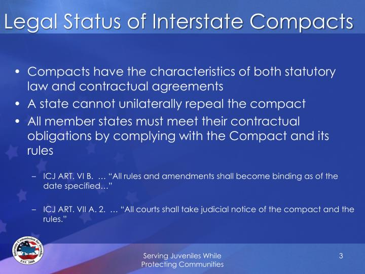 Legal status of interstate compacts