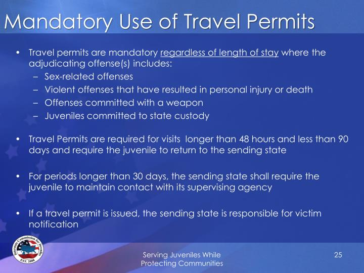 Mandatory Use of Travel Permits
