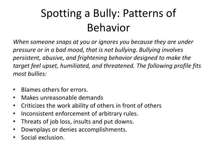 Spotting a Bully: Patterns of
