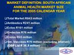 market definition south african animal health market size for the 2005 calendar year