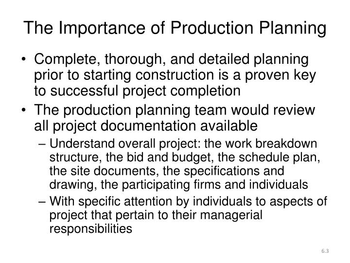 The Importance of Production Planning