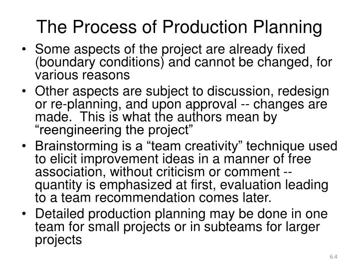 The Process of Production Planning