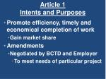 article 1 intents and purposes