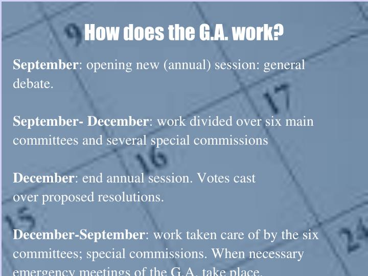 How does the G.A. work?
