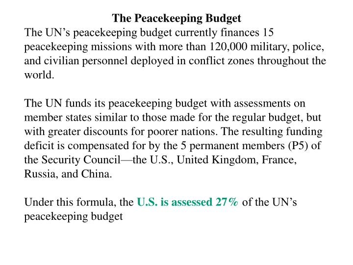 The Peacekeeping Budget