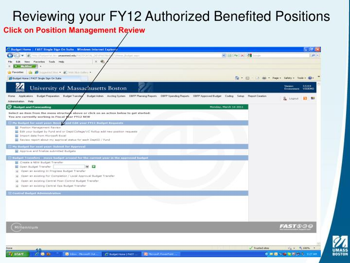 Reviewing your FY12 Authorized Benefited Positions