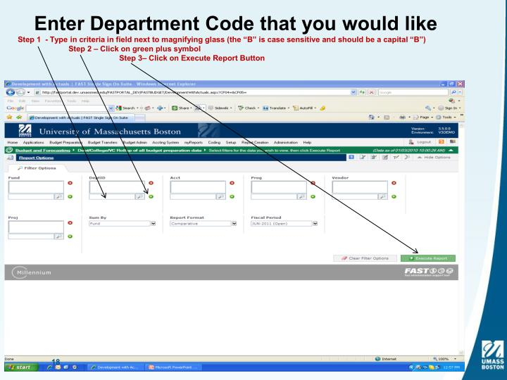 Enter Department Code that you would like