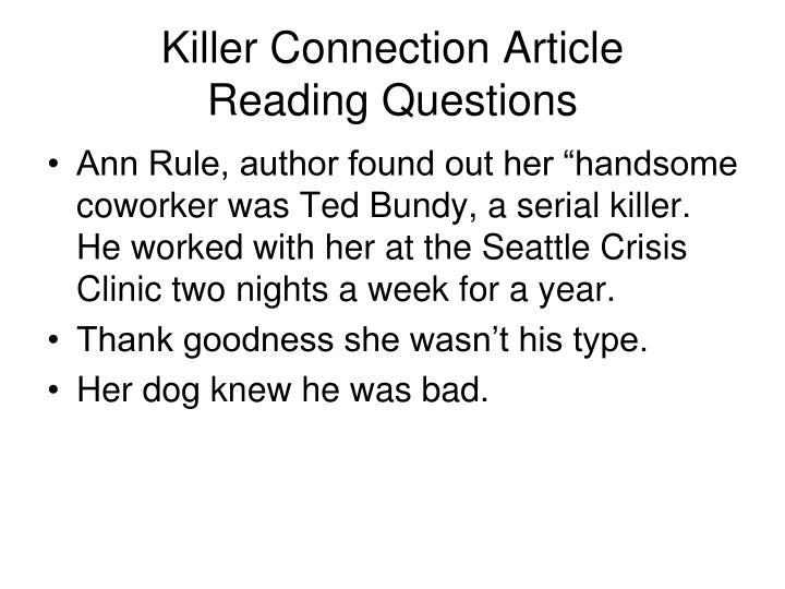 Killer connection article reading questions