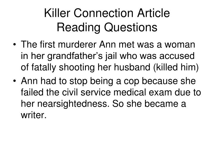 Killer connection article reading questions1