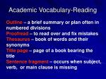 academic vocabulary reading