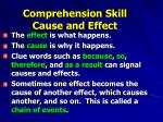 comprehension skill cause and effect