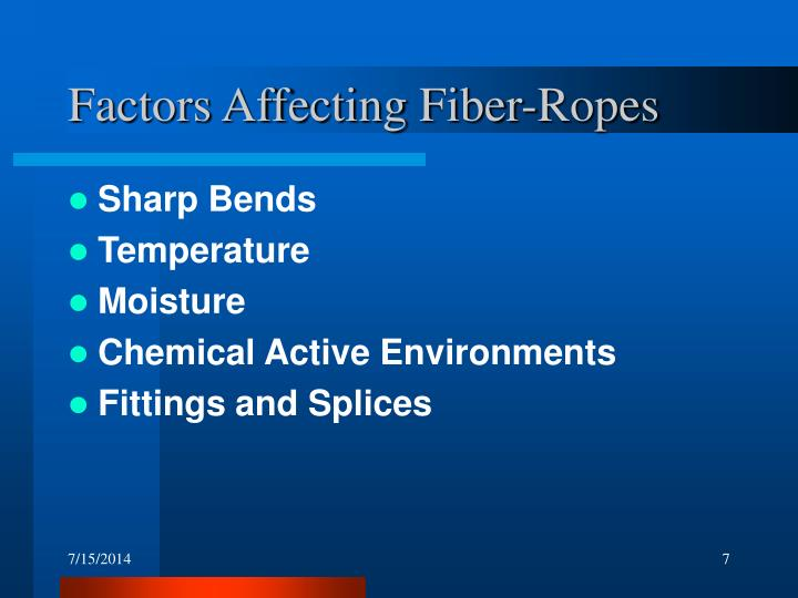 Factors Affecting Fiber-Ropes